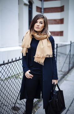<3 Outfit: All Black plus beige scarf