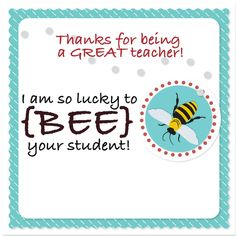 Teacher Appreciation Gift Tag Lucky to BEE your by PottersBarn
