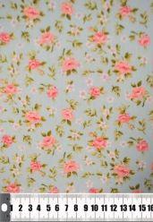 Tecido Floral Rosa e Azul Tricoline 100% Algodão Ref 17142