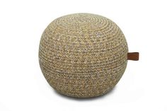 mustard pouf - stunning melange blend of 100% cotton grey, ecru and mustard blended together to create a very hip option for alternative seating or as an ottoman!
