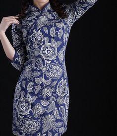Blue Flowers Cheongsam Dress by zeniche on Etsy
