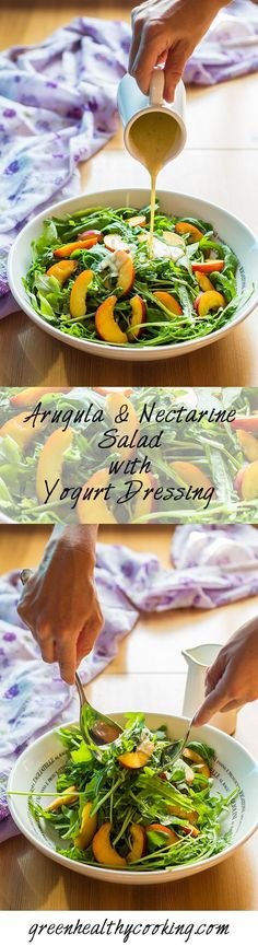 Arugula and Nectarine Salad with Yogurt Dressing