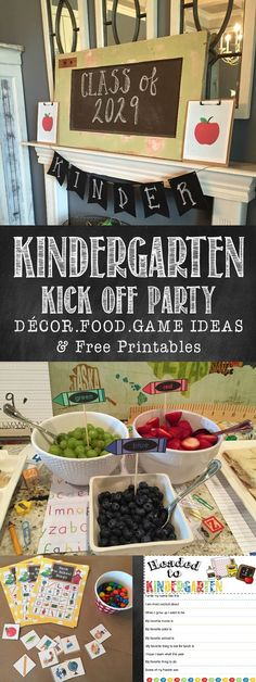 Get all the details on throwing a Kindergarten Kick off party or Back to school party.  Decorating ideas, Food ideas and fun games with free printables!