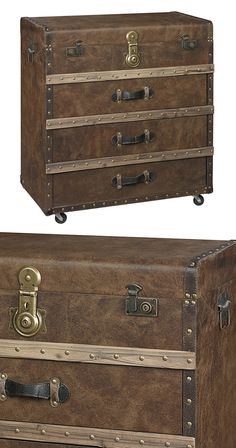 Get on board with Victorian-inspired design and create a room devoted to this transformative period. The Suffolk Accent Chest borrows from elements of trunk-style luggage, including leather-look fabric...  Find the Suffolk Accent Chest, as seen in the The Vintage Express Collection at http://dotandbo.com/collections/the-vintage-express?utm_source=pinterest&utm_medium=organic&db_sku=116154
