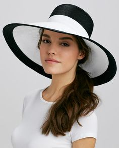 Swinger Wide-Brim Hat, Black/White by Eric Javits at Neiman Marcus.