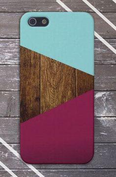 Teal x Dark Wood x Maroon Geometric Case for iPhone