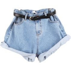 High Waist Shorts (60 BRL) ❤ liked on Polyvore featuring shorts, bottoms, pants, short, high rise denim shorts, high rise jean shorts, high waisted jean shorts, jean shorts and high waisted shorts