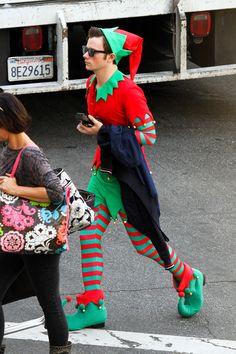 Chris Colfer filming Glee on November 7, 2013