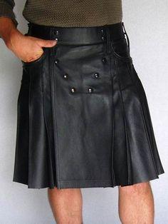 New Handmade Black Geniune Leather Pent Style Pockets Utility kilt for men Man Skirt, Dress Skirt, Bib And Brace Overalls, Leather Kilt, Leather Box, Kilt Accessories, Men In Kilts, Kilt Men, Utility Kilt
