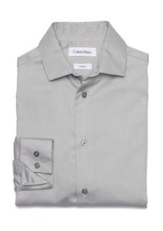 Calvin Klein Light Gray Button Front Dress Shirt Boys 8-20