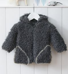 yarn for baby: cozy knitted jacket - paletot Neige Layette - Modèles Layette - Phildar