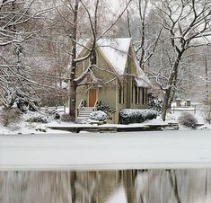 by the pond all covered by snow ~ so serene