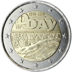 France commemorative €2 coin 2014: 70th anniversary of the Normandy landings of 6 June 1944. In the coin's central field the word D-DAY is written in such a way as to depict a landing craft and a tank gun barrel. The years 1944-2014 appear above the tank gun, with the inscription '70e anniversaire du débarquement' further down. Mintage: 3,000,000