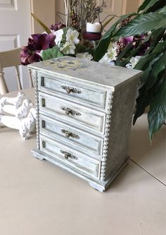Vintage Shabby Chic Musical Jewelry Box / Wooden Painted Jewelry Box / Upcycled OOAK Designer Jewelry Chest by ByeByBirdieDesigns on Etsy https://www.etsy.com/listing/537655306/vintage-shabby-chic-musical-jewelry-box