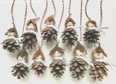 "Christmas Decorations – ""Waldwichtel"" Tree Decorations Set of 10 – a unique product by Emb … - Christmas Crafts Diy Autumn Crafts, Nature Crafts, Holiday Crafts, Pine Cone Art, Pine Cone Crafts, Pine Cone Decorations, Christmas Decorations, Christmas Ornaments, Diy And Crafts"