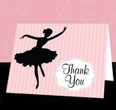INSTANT DOWNLOAD Ballerina Thank You Cards by SassyPartyDesigns