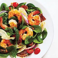 Clean Eating- Red grape tomatoes add pops of color to this fresh spinach salad with shrimp. Add Fennel and Spinach Salad with Shrimp and Balsamic Vinaigrette to your weeknight menu when you need something quick, fresh and light. Cooking Light Recipes, Clean Eating Recipes, Healthy Eating, Healthy Food, Healthy Eyes, Eating Clean, Cooking Tips, Yummy Food, Spinach Recipes