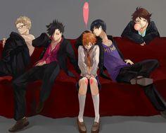 Haikyuu, Hinata Genderbent, Kageyama, Tsukishima, Oikawa and Kuroo