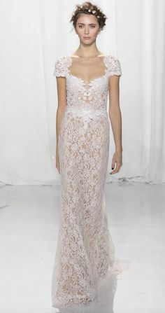 Elegant floral lace short sleeve wedding dress; Featured Dress: Reem Acra 2017