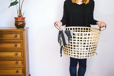 Leather Handle Cane Basket | Discovered by Creative Middle