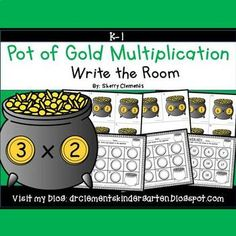 Pot of Gold Write the Room (Multiplication)This resource includes four pages of multiplication facts color with a total of 20 multiplication cards. The numbered cards have images of pots of gold and gold coins with the multiplication facts. Teachers should copy the multiplication cards on cardstock (for durability and saving for future years) or plain paper, laminate (if desired), cut apart, and then post the multiplication cards around the room.