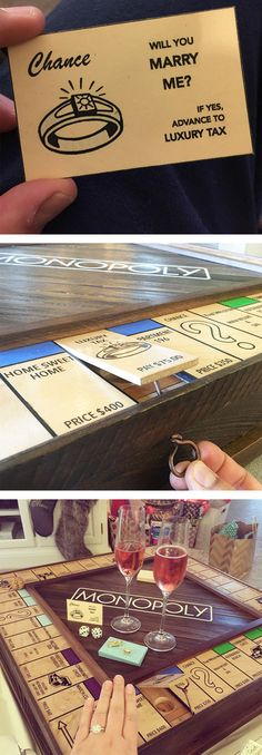 Proposal Using Custom-Made Monopoly Board With Secret Compartment..if your partner is still unsure whether to marry you or not then a proposal like one of those listed below might just help to tip the balance. One way or another. So if you're looking for some inspiration then check out these awesomely creative marriage proposals.