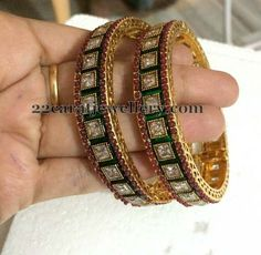 Jewellery Designs: Polki Bangles only 1600 Rupees