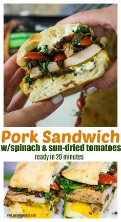 Easy Pork Sandwich made with @SmithfieldBrand from @Walmart topped with fresh spinach and sun-dried tomatoes! So flavorful! Ready in about 20 minutes. Perfect for any weeknight meal, great for tailgate and homegating! #ad #SmithfieldFast #RealFlavorRealFast #everydayeileen #porksandwich #easydinner