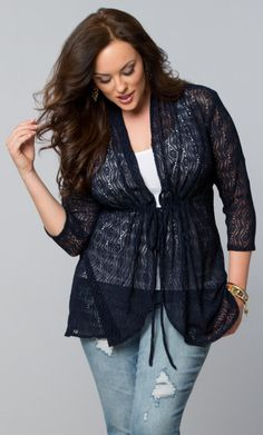 Add a little extra detail to a simple jean and tee outfit with our plus size Bohemian Crochet Bellini.  www.kiyonna.com