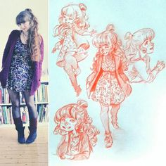 #sketcheveryday #sketches #sketchbook #ootd #wiw  #dressesanddrawings #schmoelfie  :D outfitdrawing! I like this new hairdo i discoverd for myself :D by schmoedraws