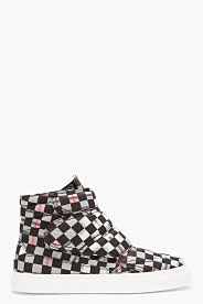 Black Tartan High-Top Sneakers