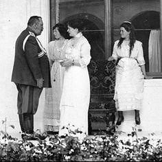 "Empress Alexandra Feodorovna of Russia with the Grand Duchesses Tatiana and Maria Nikolaevna Romanova of Russia in 1914.  ""AL"""