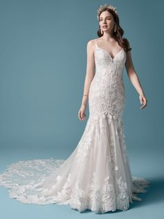 25551 - Giana  by Maggie Sottero. Check out her amazing train! Try this beauty on at Aurora Bridal in Melbourne, FL 321-254-3880 Perfect Wedding Dress, Dream Wedding Dresses, Designer Wedding Dresses, Bridal Dresses, Wedding Gowns, Lace Wedding, Wedding Outfits, Wedding Happy, Summer Wedding