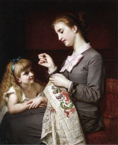 The Embroidery Lesson by Hughes Merle (1823-1881).
