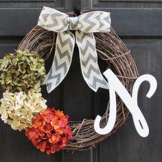 Summer Monogram Wreath, Initial Wreath for Summer, Green Cream & Orange Hydrangea Grapevine Wreath with Letter