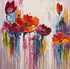 #7 - I like the non-comformist, abstract nature of this.  The definition of the flower fading to the running of the colors down the canvas.