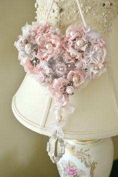 Beautiful Handmade Ribbon Work Heart Ornament by Jenneliserose