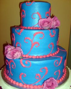 blue and pink quinceanera cakes - maybe Mikaela's