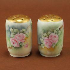 JR Bavaria Porcelain Salt Pepper Shakers Pink Roses by charmings on Etsy, $32.00