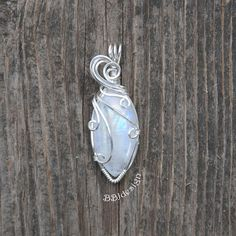 Rainbow Moonstone Peristerite Gemstone Cabochon Pendant Necklace Sterling Silver Wire Wrapped Marquise Blue Purple Flash