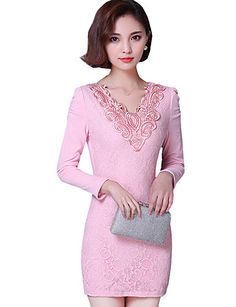 Fall Winter Women's Casual/Going out Plus Size Plus Velvet Dresses Solid Color V Neck Long Sleeve Pack Hip Dress 5279781 2017 – $18.99