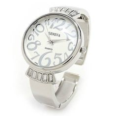 Silver Metal Crystal Band Large Face Womens Bangle Cuff Watch -- You can get more details by clicking on the image. (This is an affiliate link) Silver Metal, Black Metal, Rhinestone Jewelry, Fashion Watches, Bracelet Watch, Bangles, Quartz, Cuff Watches, Silver Watches
