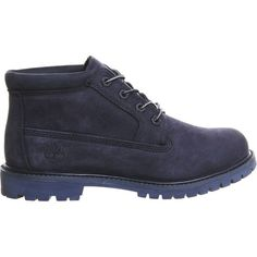 TIMBERLAND Nellie chukka leather waterproof boots ($130) ❤ liked on Polyvore featuring shoes, boots, navy mono nubuck, timberland shoes, timberland boots, navy blue boots, navy blue leather boots and waterproof leather boots
