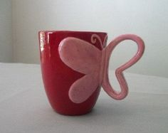 Butterfly Mug in Bright Red and Speckled Pink by TLCCeramicsIL,: Clay Mugs, Ceramic Clay, Ceramics Projects, Clay Projects, Pottery Mugs, Ceramic Pottery, Stars Disney, Cerámica Ideas, Sculptures Céramiques