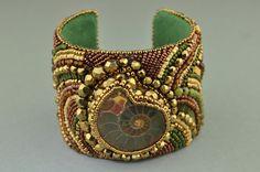 Beaded Jewelry Bead Embroidery Bracelet Statement Cuff by LiTelle, $259.00