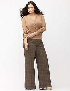 In our smooth Tailored Stretch fabric for a wonderful feel and beautiful drape, our plaid wide leg pant takes your office look way beyond basic black. Lena's easy-wearing fit flatters a moderately-curvy figure with a slightly smaller waist to reduce gapping. Tabbed waistband with inner button, bar & slide closure and zip fly. Four pocket style. lanebryant.com