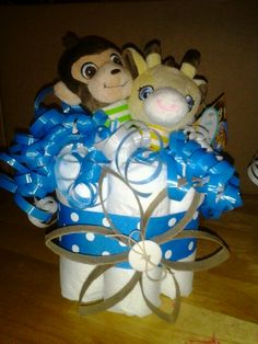 Diaper cake baby shower centerpieces