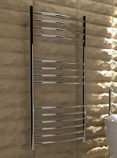 Kudox Designer Towel Rail Lugana Curved x Mirror Polished Stainless Steel Stainless Steel Towel Rail, Towel Radiator, Central Heating, Radiators, Blinds, Curtains, Mirror, Hamper, Bathroom Ideas