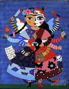 Frida Painting - Angel Devil 10-arm Frida Kahlo by LuLu Mypinkturtle