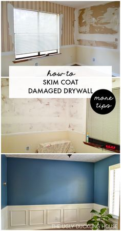 easy step-by-step tutorial with product recommendations for how to skim coat damaged drywall after wallpaper removal.An easy step-by-step tutorial with product recommendations for how to skim coat damaged drywall after wallpaper removal. Home Improvement Loans, Home Improvement Projects, Home Projects, Drywall Repair, Fixing Drywall, Drywall Finishing, How To Finish Drywall, How To Texture Drywall, Skim Coat Drywall